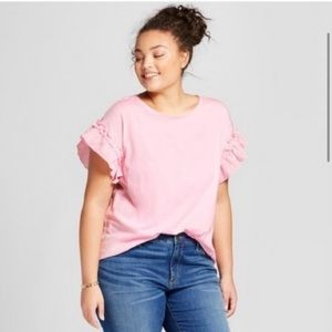 A New Day Pink Ruffle Sleeve Top Size XL